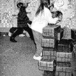 children playing with bricks 1990s